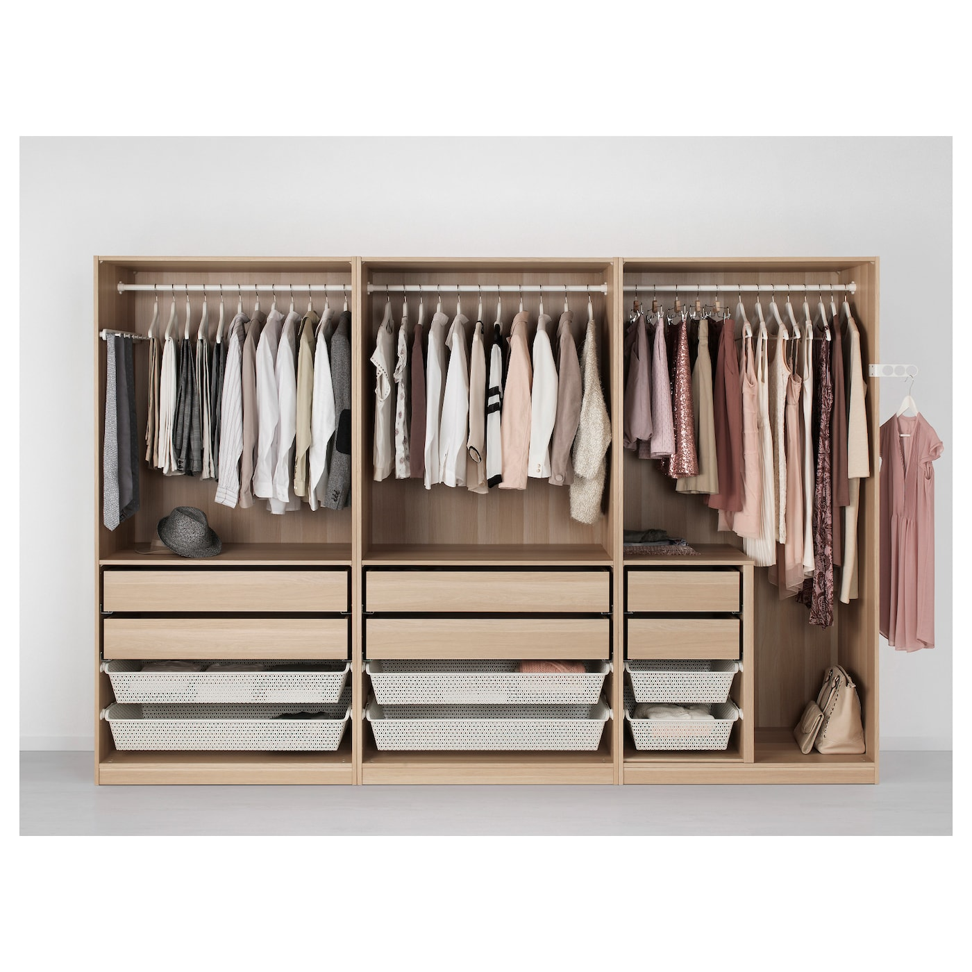 Pax wardrobe white stained oak effect nexus vikedal 300 x for Ikea cabina armadio pax