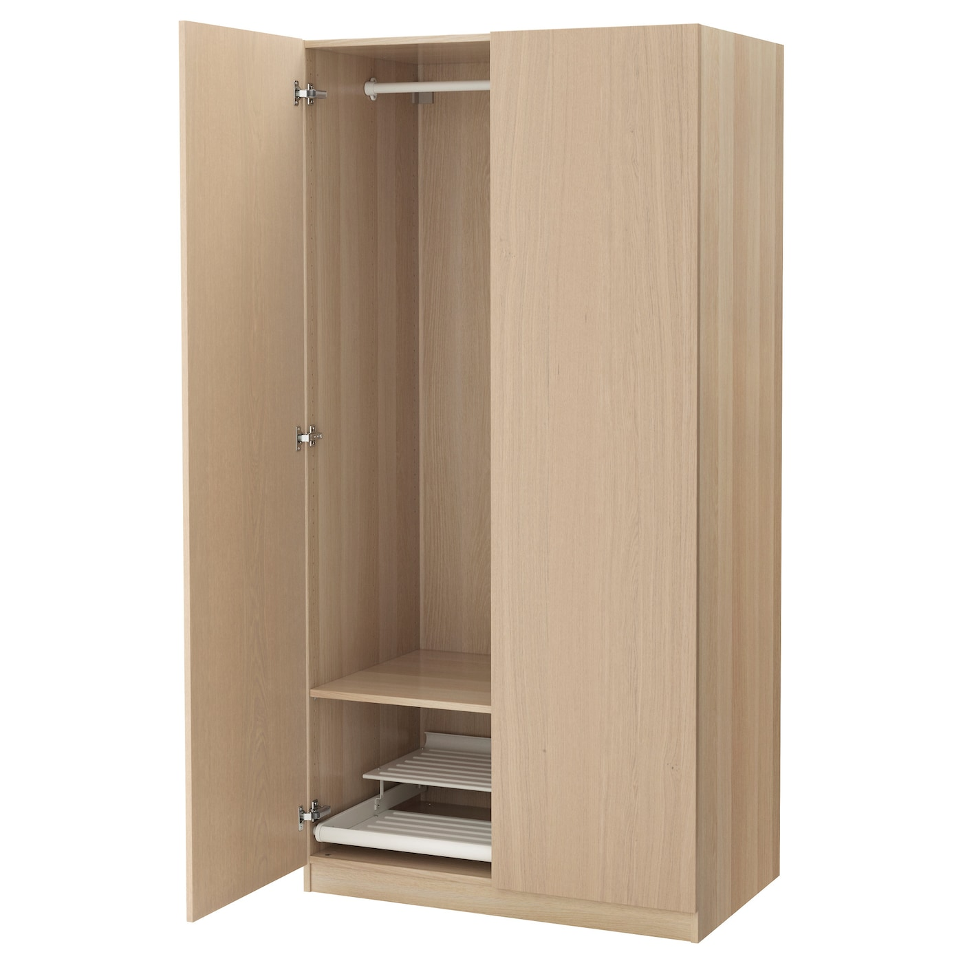 pax wardrobe white stained oak effect nexus white stained oak veneer 100x60x201 cm ikea. Black Bedroom Furniture Sets. Home Design Ideas