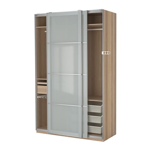 pax wardrobe white stained oak effect sekken frosted glass. Black Bedroom Furniture Sets. Home Design Ideas