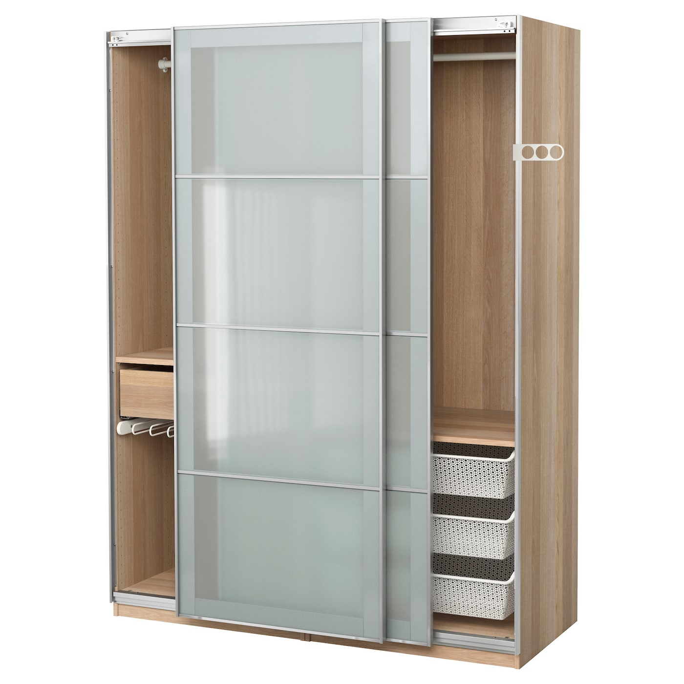 pax wardrobe white stained oak effect sekken frosted glass 150x66x201 cm ikea. Black Bedroom Furniture Sets. Home Design Ideas