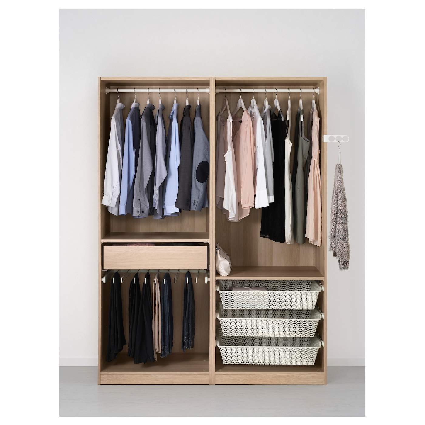 PAX Wardrobe White stained oak effect/sekken frosted glass ...