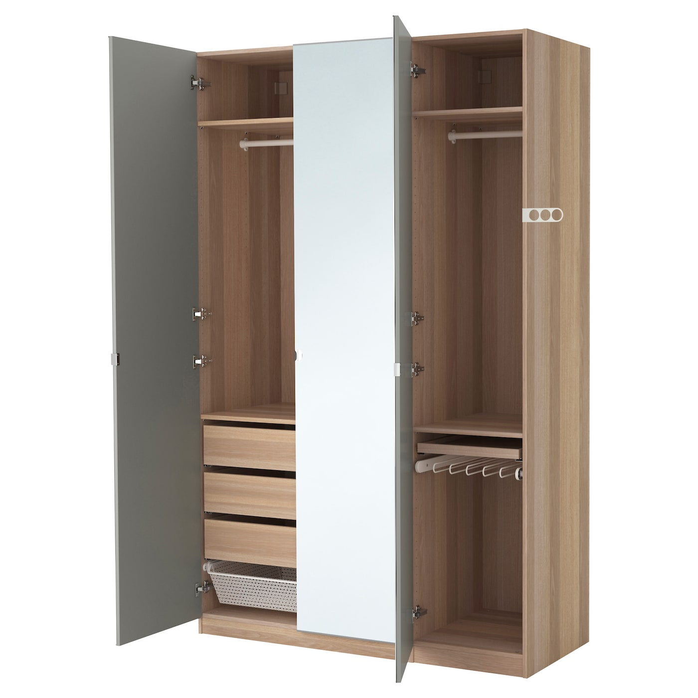 Pax wardrobe white stained oak effect vikedal mirror glass for Porte miroir ikea