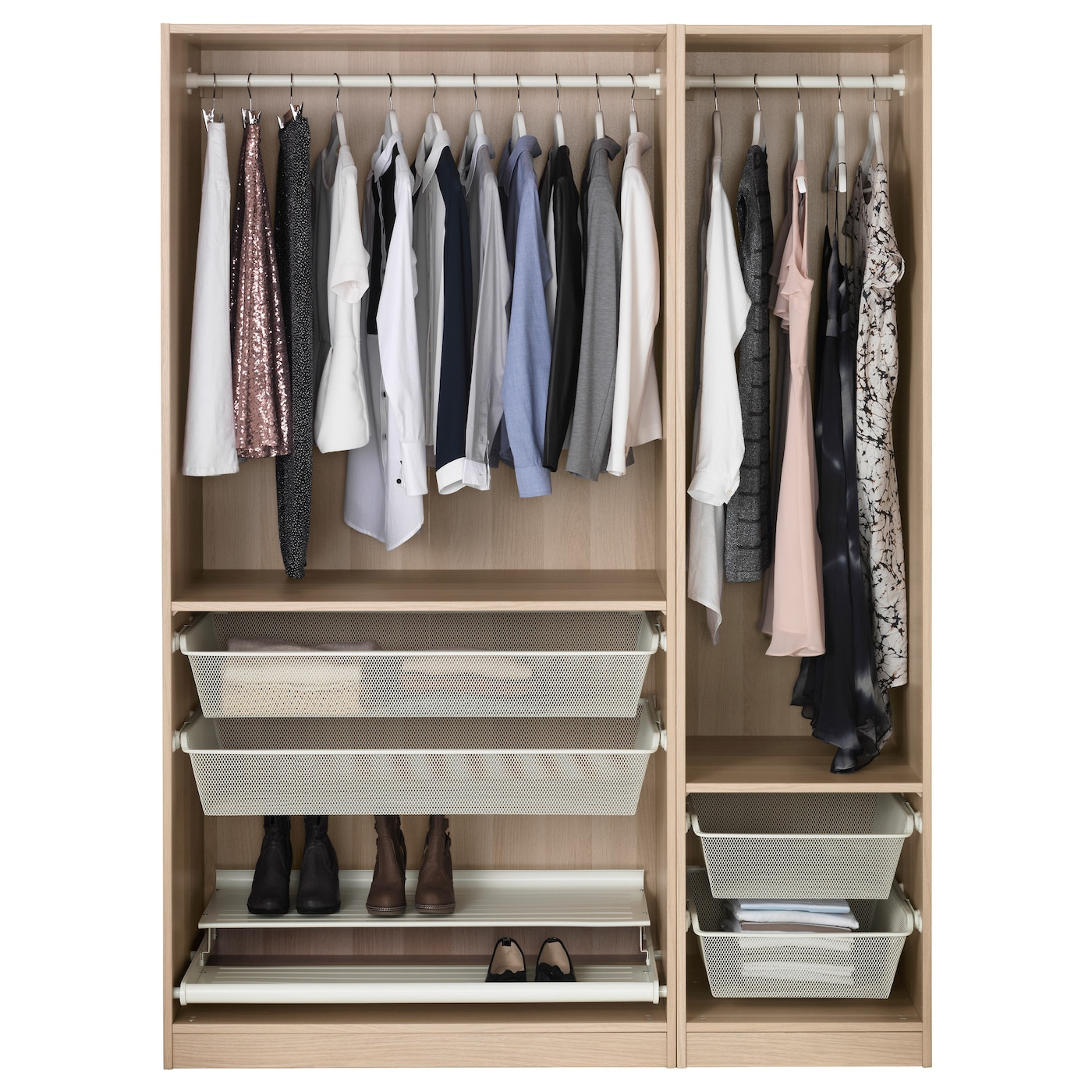 pax wardrobe white stained oak effect 150x58x201 cm ikea. Black Bedroom Furniture Sets. Home Design Ideas