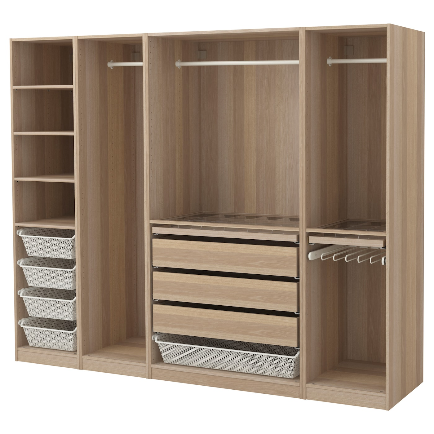 pax wardrobe white stained oak effect 250x58x201 cm ikea. Black Bedroom Furniture Sets. Home Design Ideas