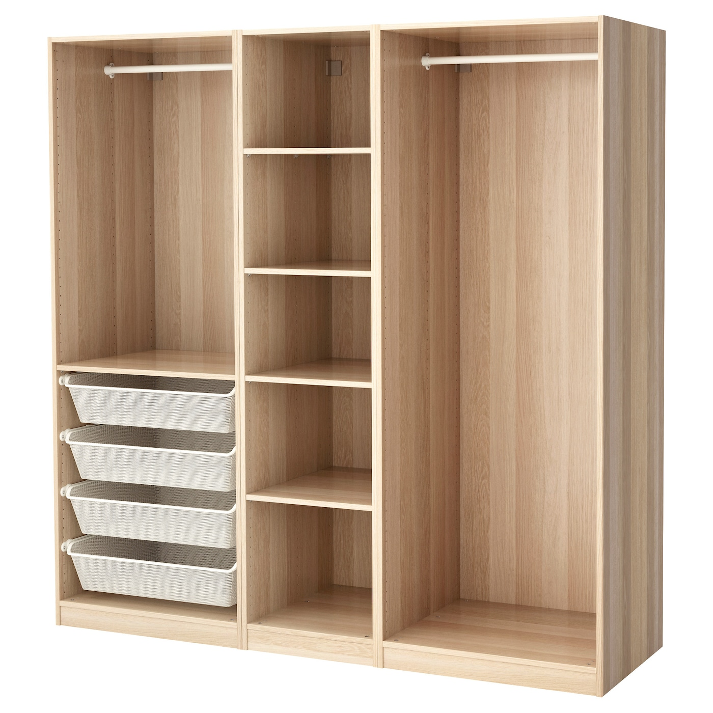 pax wardrobe white stained oak effect 200 x 58 x 201 cm ikea. Black Bedroom Furniture Sets. Home Design Ideas