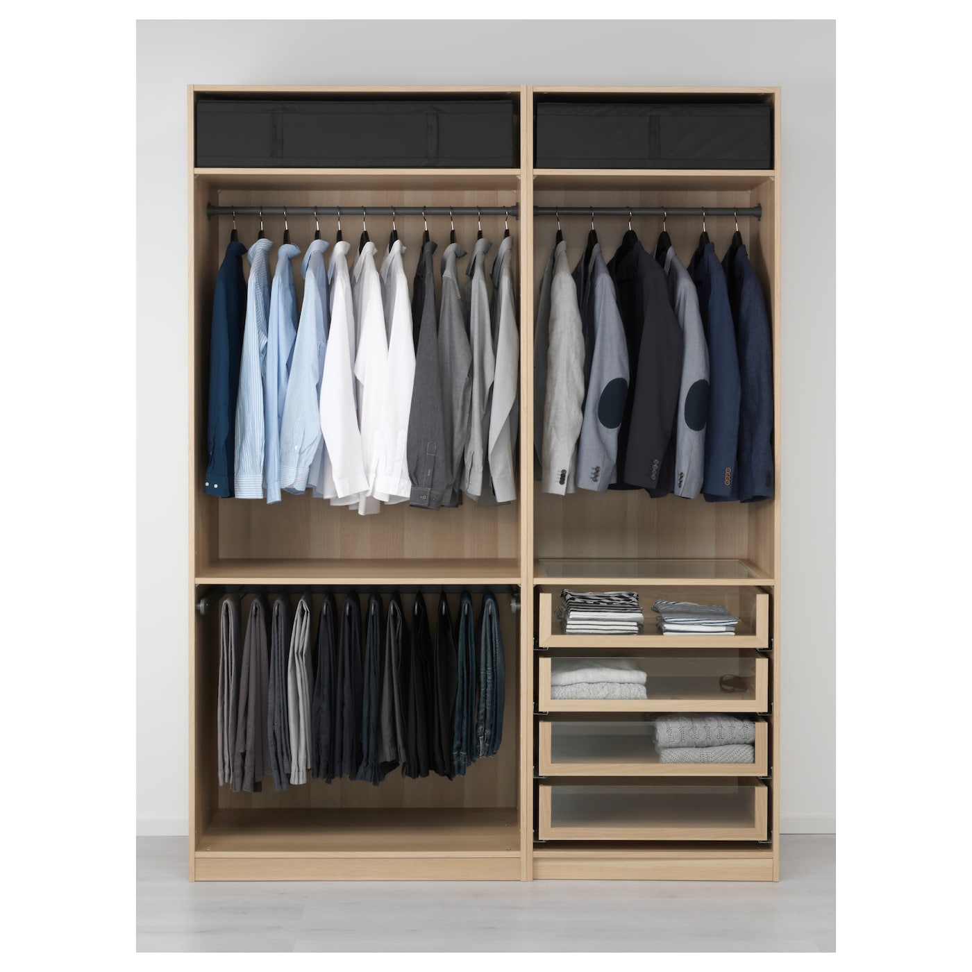 Design Ikea Closet pax wardrobe white stained oak effect 175x58x236 cm ikea 10 year guarantee read about the terms in brochure