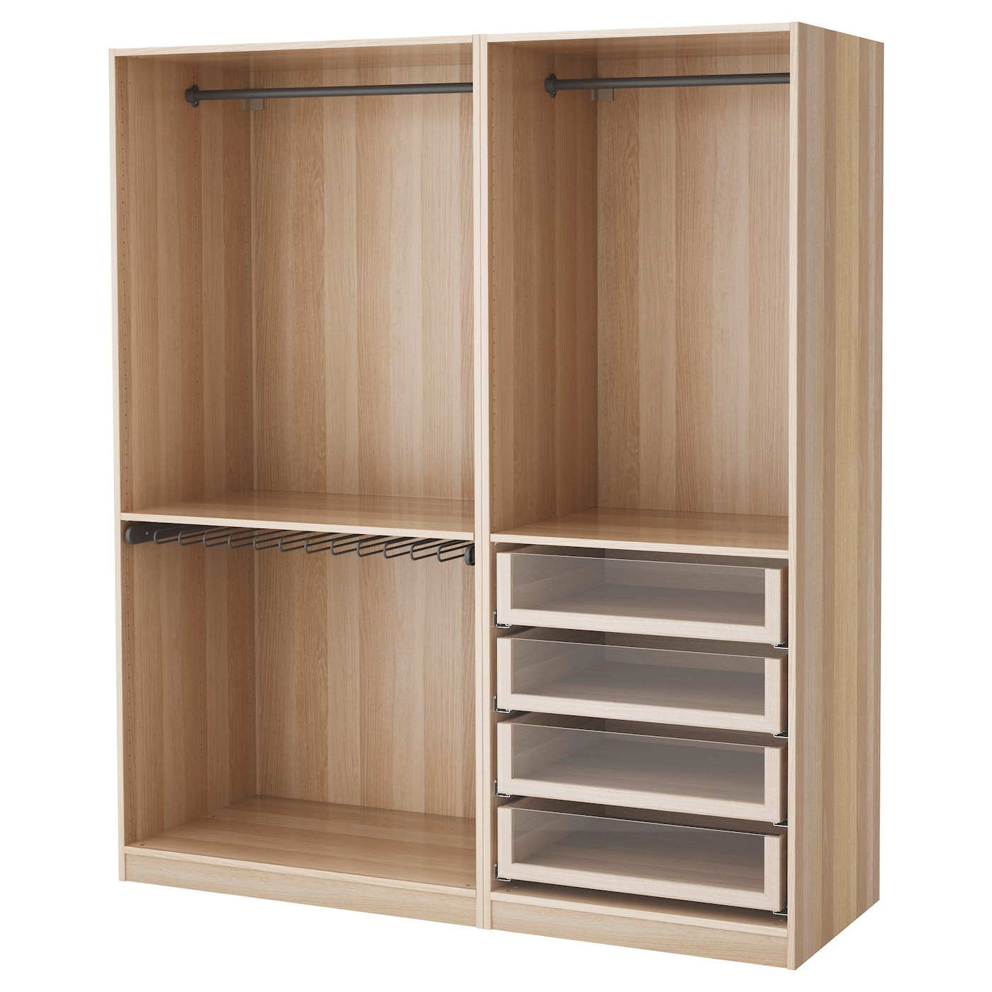 pax wardrobe white stained oak effect 175x58x201 cm ikea. Black Bedroom Furniture Sets. Home Design Ideas