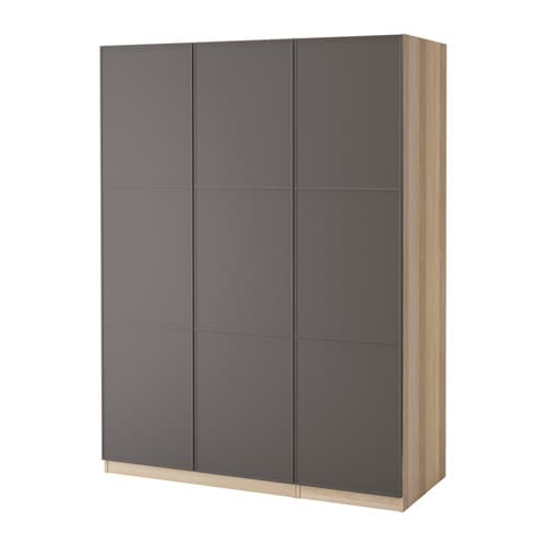 pax wardrobe white stained oak mer ker dark grey 150x60x201 cm ikea. Black Bedroom Furniture Sets. Home Design Ideas