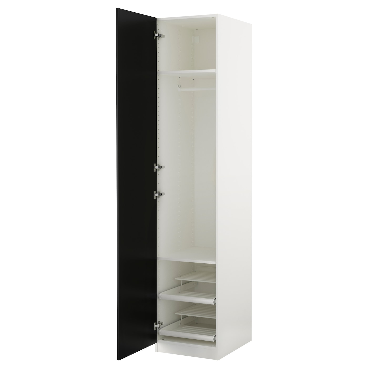 Pax wardrobe white tanem black 50x60x236 cm ikea for Miroir 150x80