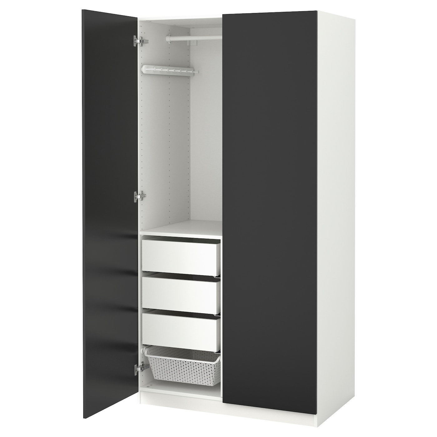 pax wardrobe white tanem black 100x60x201 cm ikea. Black Bedroom Furniture Sets. Home Design Ideas