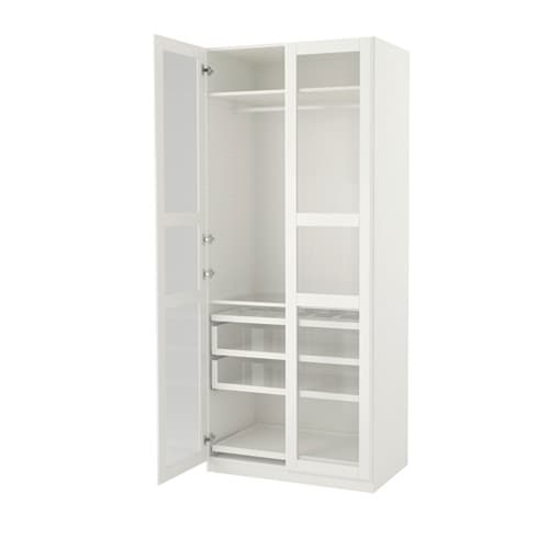 pax wardrobe white tyssedal glass 100x60x236 cm ikea. Black Bedroom Furniture Sets. Home Design Ideas