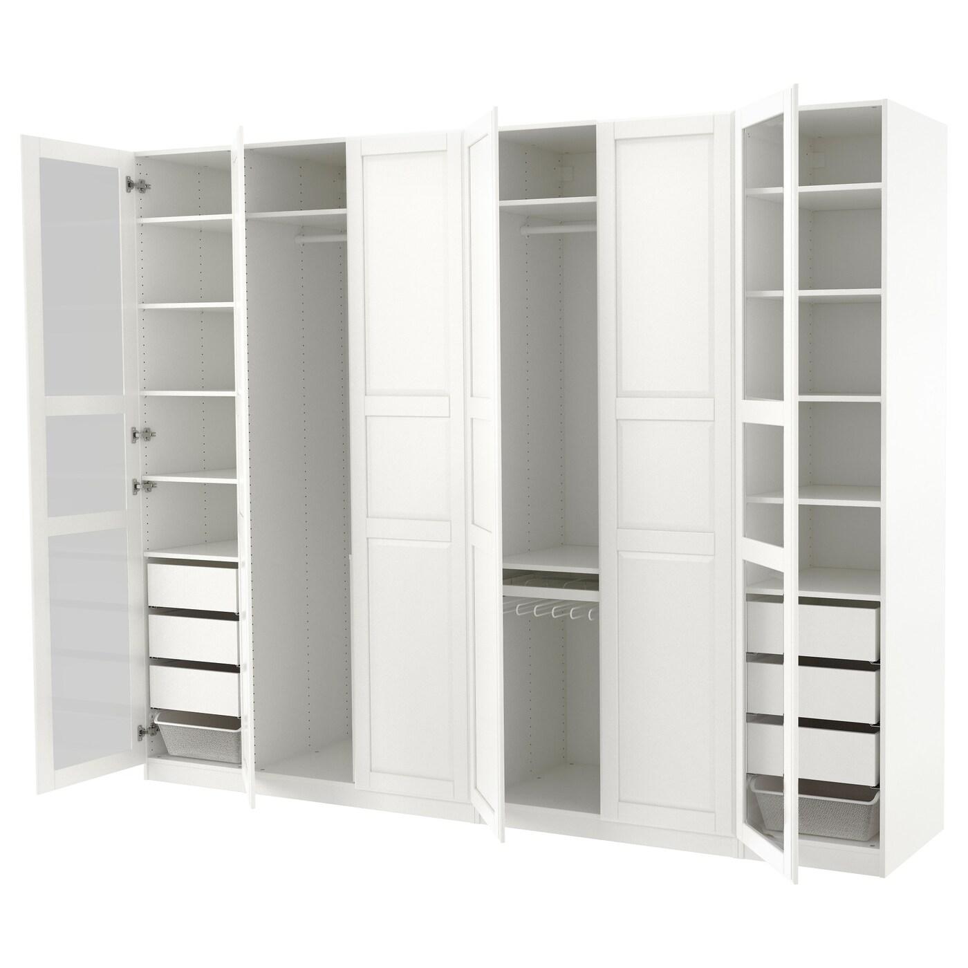 PAX Wardrobe White tyssedal/tyssedal glass 300x60x236 cm ...