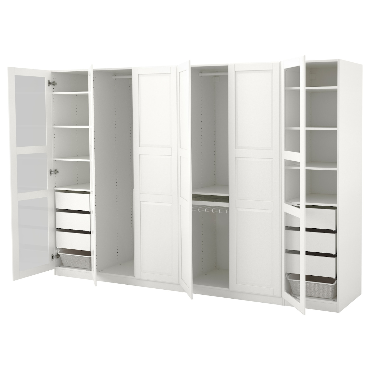 pax wardrobe white tyssedal tyssedal glass 300x60x201 cm. Black Bedroom Furniture Sets. Home Design Ideas