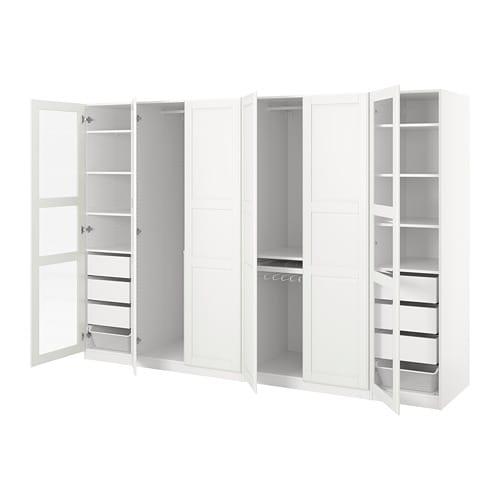 W Mega PAX Wardrobe White tyssedal/tyssedal glass 300 x 60 x 201 cm - IKEA NP57