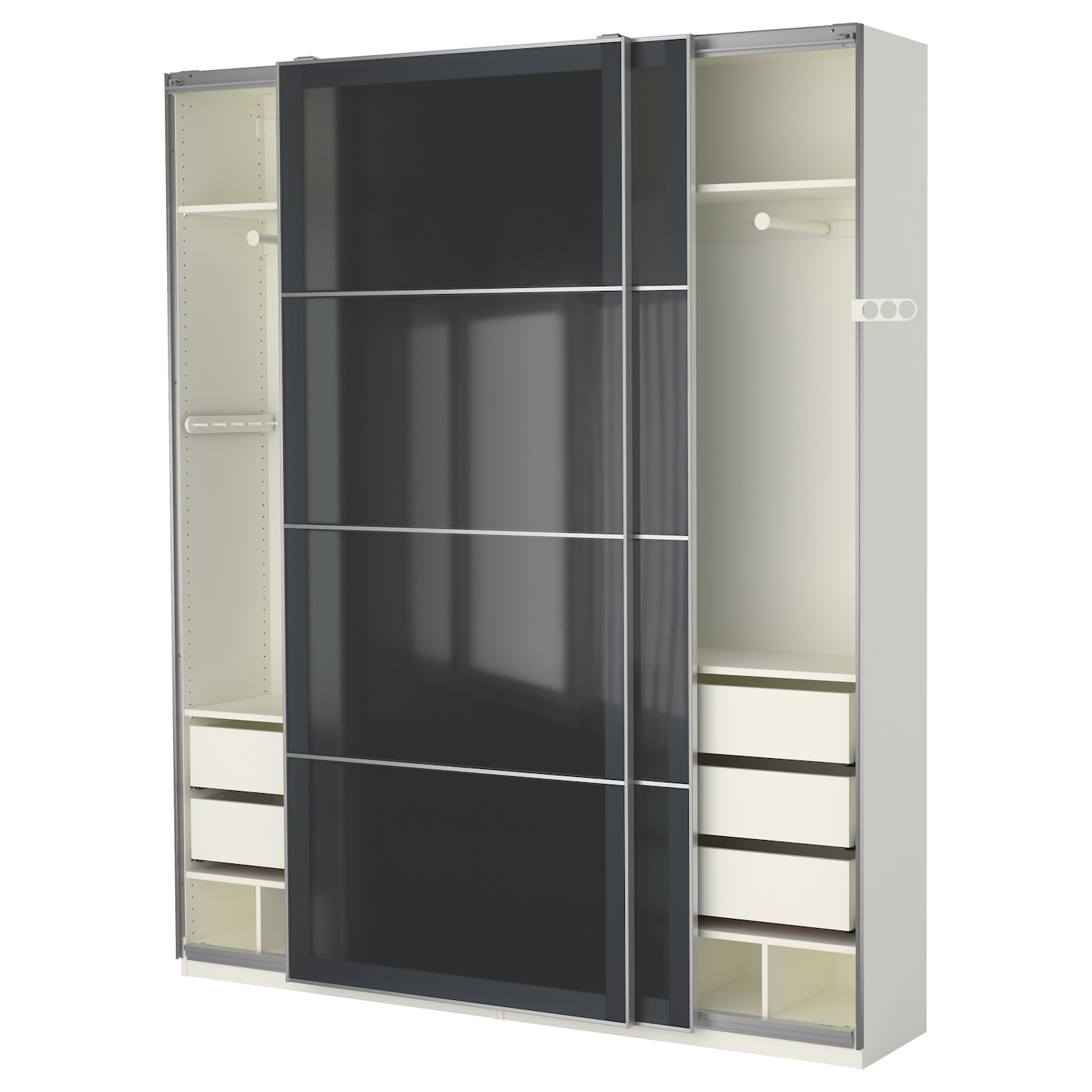 pax wardrobe white uggdal grey glass 200 x 44 x 236 cm ikea. Black Bedroom Furniture Sets. Home Design Ideas