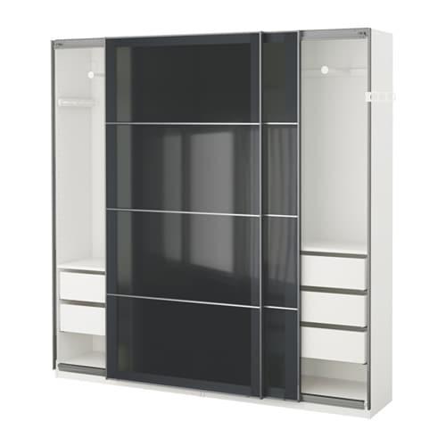 Pax wardrobe white uggdal grey glass 200x44x201 cm ikea - Ikea armoire porte coulissante ...