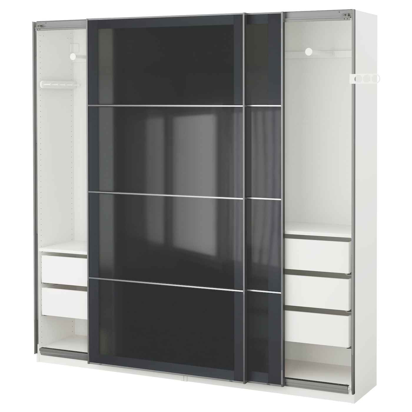 pax wardrobe white uggdal grey glass 200x44x201 cm ikea