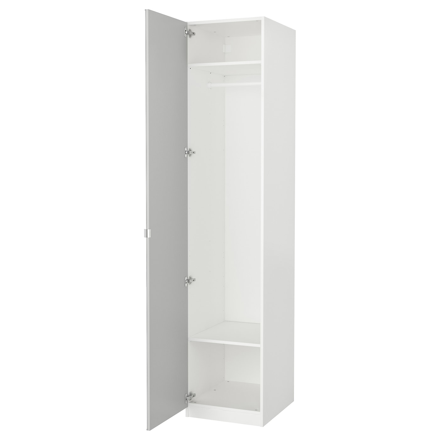 Pax wardrobe white vikedal mirror glass 50x60x236 cm ikea for Armoire penderie blanc conforama