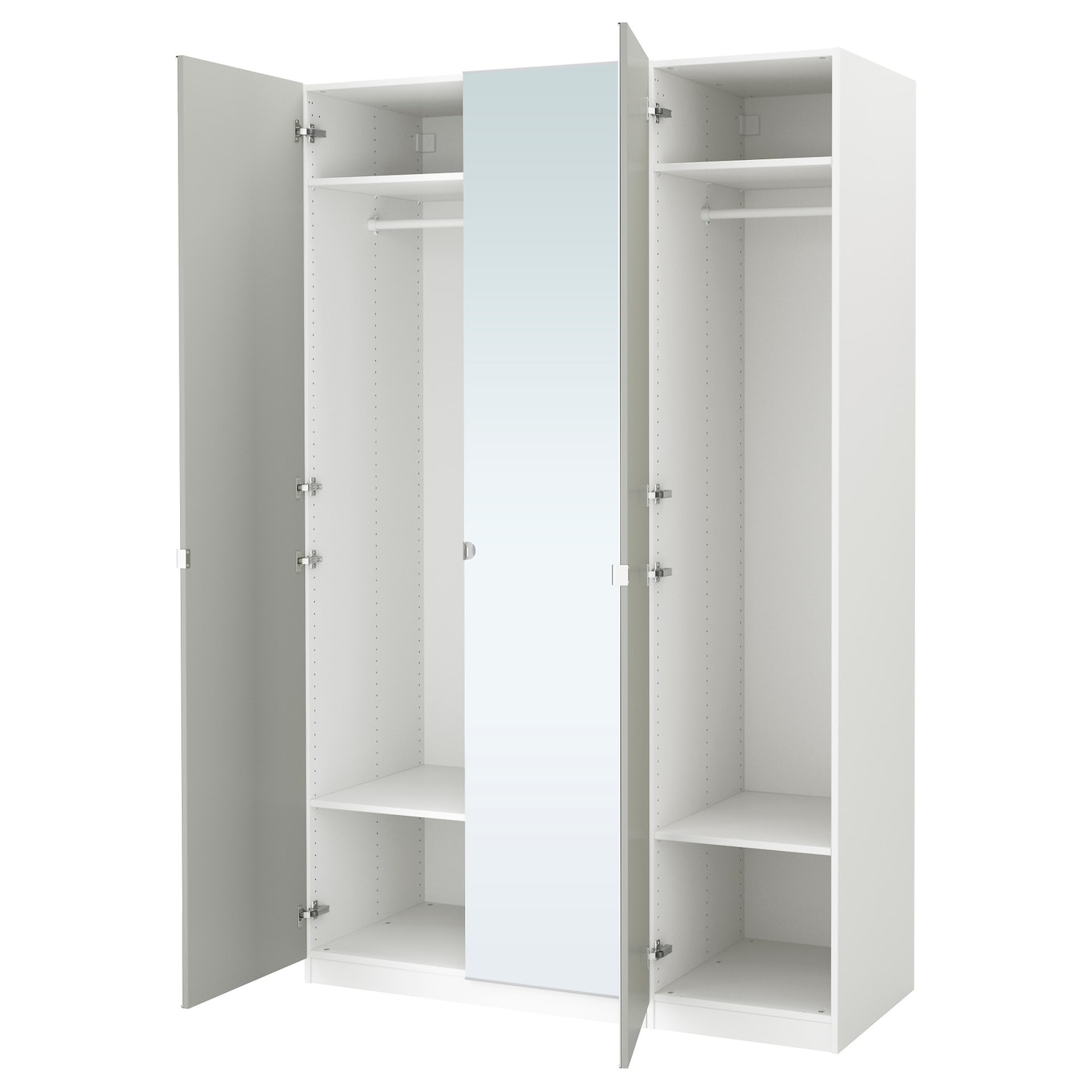 Pax wardrobe white vikedal mirror glass 150x60x236 cm ikea for Armoire penderie avec miroir