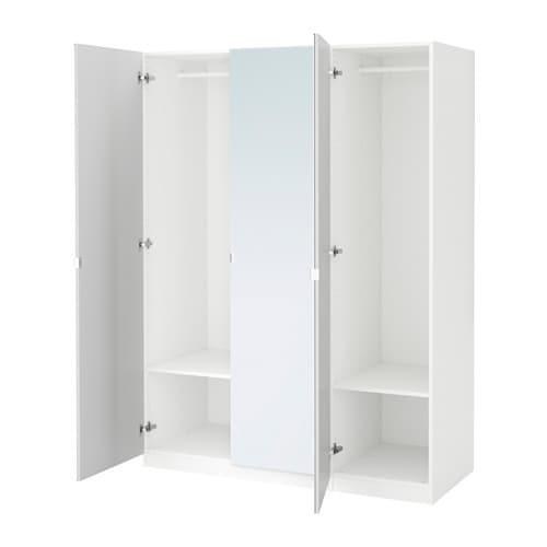 Pax Wardrobe White Vikedal Mirror Glass 150 X 60 X 201 Cm
