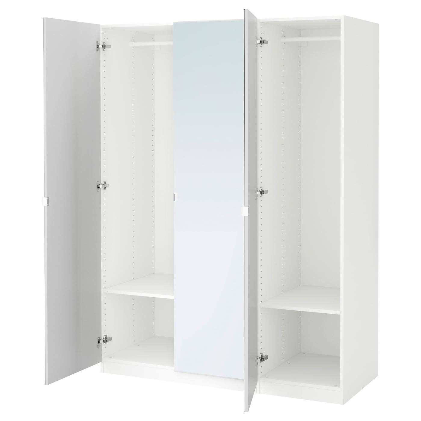 Pax wardrobe white vikedal mirror glass 150x60x201 cm ikea for Mirror wardrobe