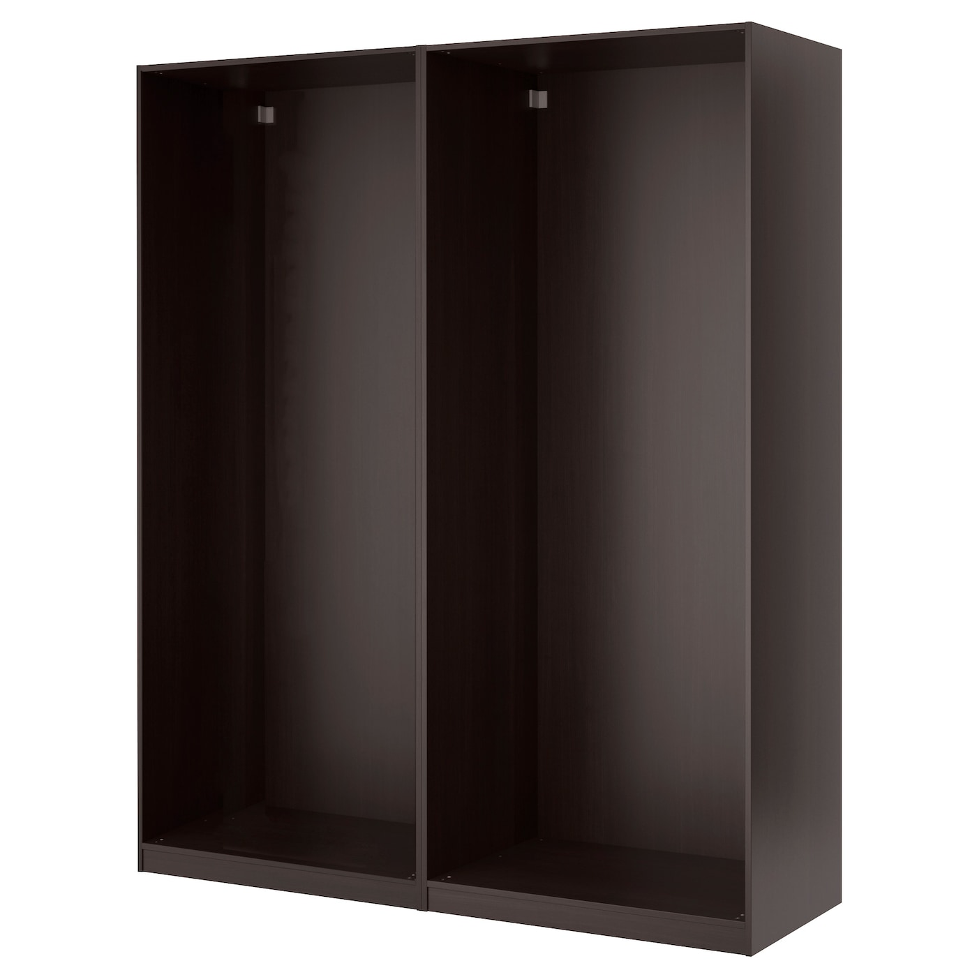 Pax wardrobe with sliding doors black brown auli mirror for Black sliding glass doors
