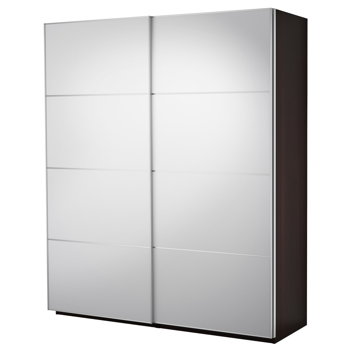 Pax wardrobe with sliding doors black brown auli mirror glass 200x66x236 cm ikea - Ikea armarios modulares ...