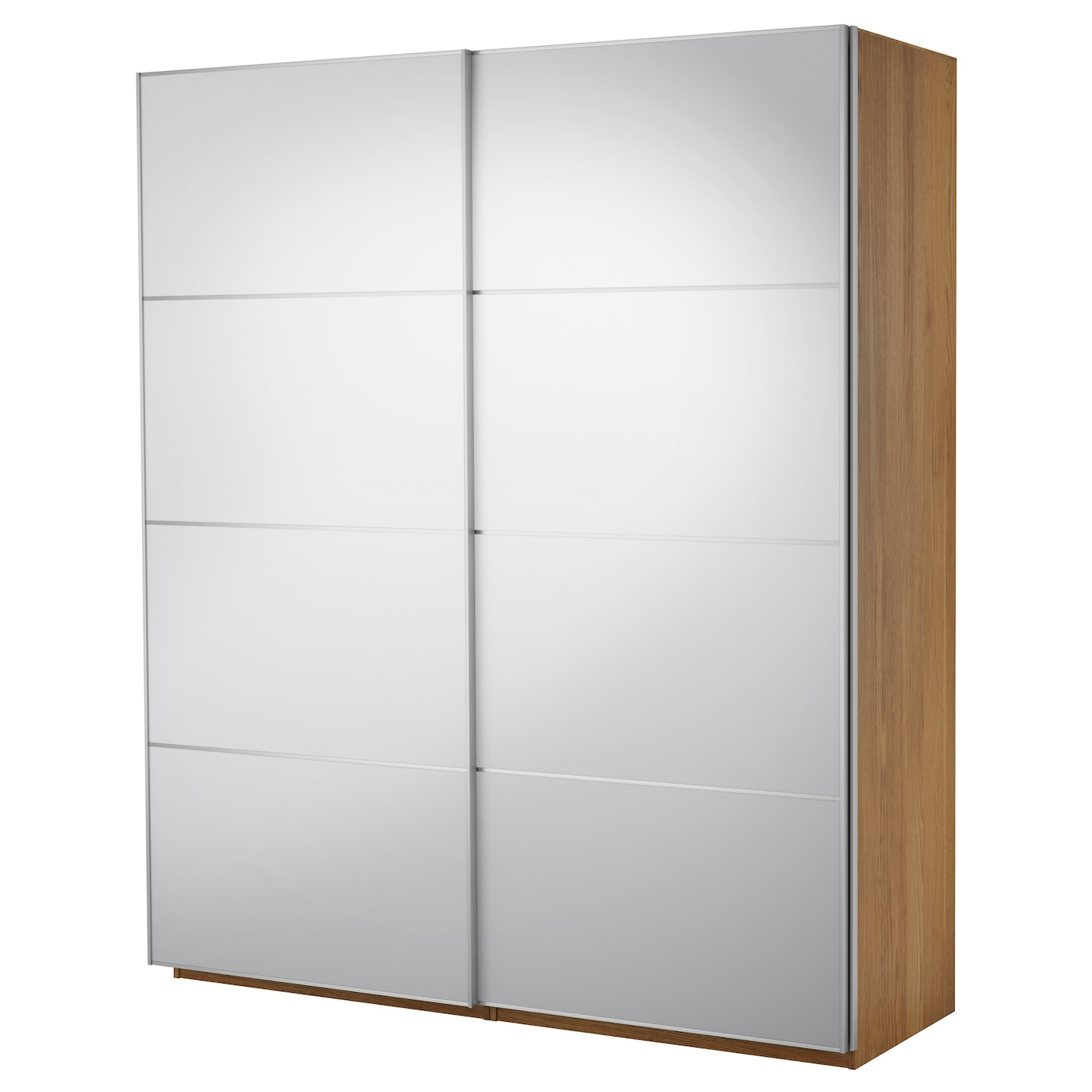 Pax wardrobe with sliding doors oak effect auli mirror for Ikea glass sliding doors