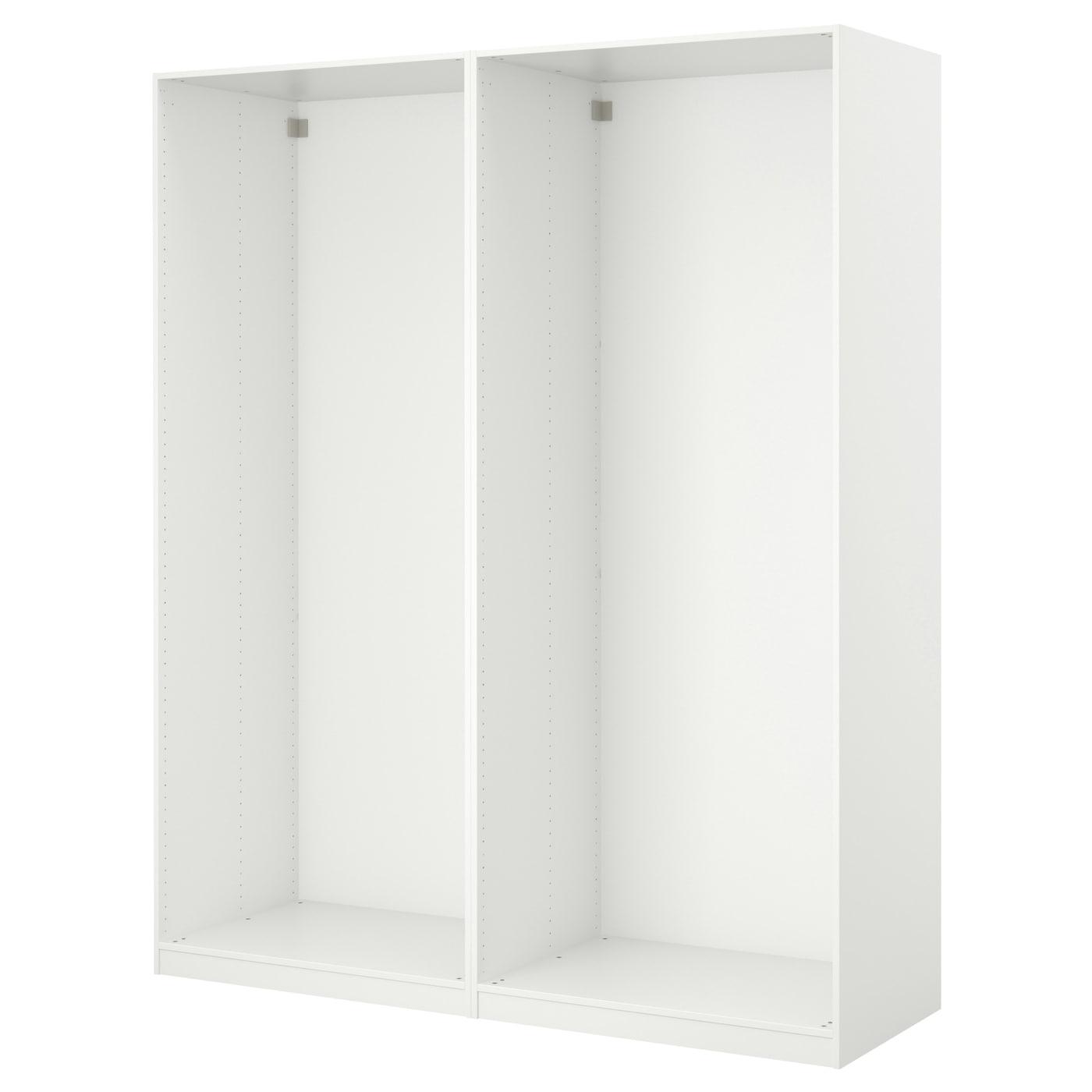 PAX Wardrobe With Sliding Doors White Auli Mirror Glass 200x44x236 Cm IKEA