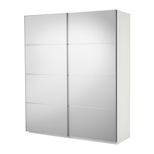 Pax wardrobe with sliding doors white auli mirror glass for Ikea pax ante