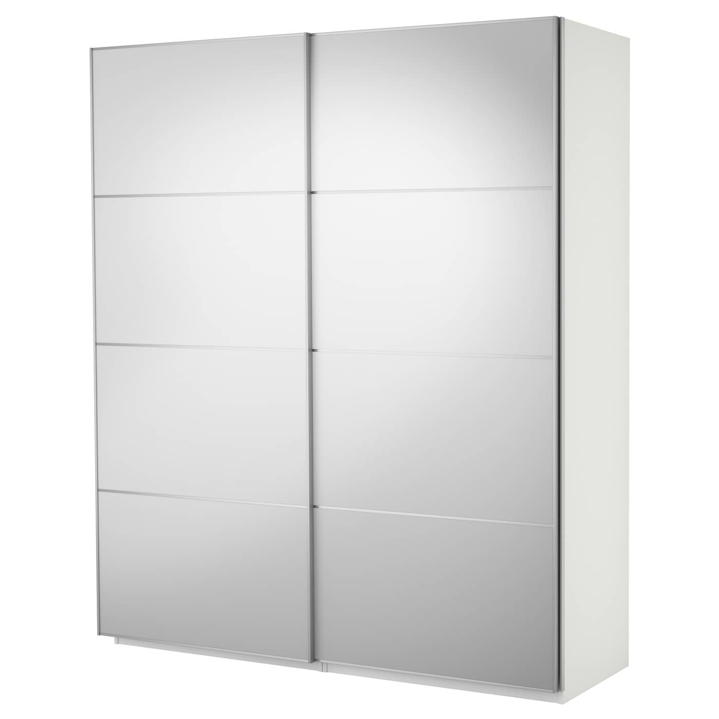 PAX Wardrobe with sliding doors White/auli mirror glass 200 x 44 x ...
