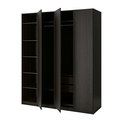 PAX wardrobe black-brown stained ash effect/Repvåg black-brown stained oak veneer 200.0 cm 60.0 cm 236.4 cm