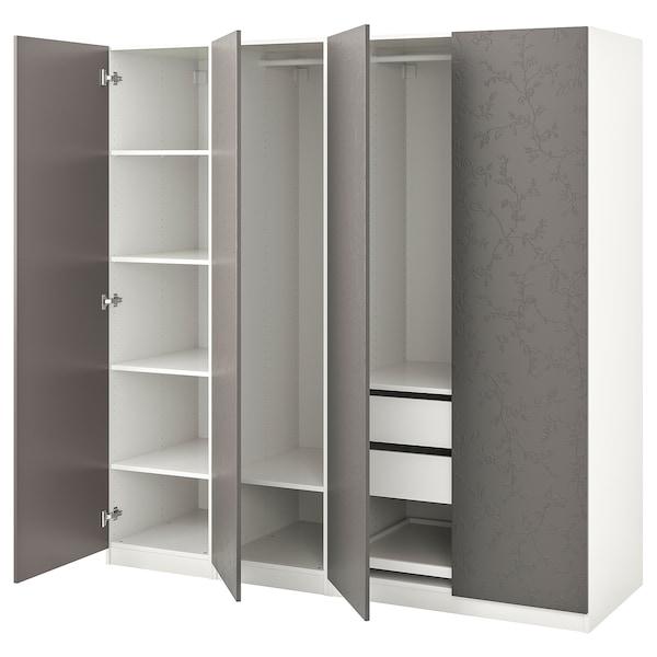 PAX wardrobe white/Flornes dark grey 200.0 cm 60.0 cm 201.2 cm