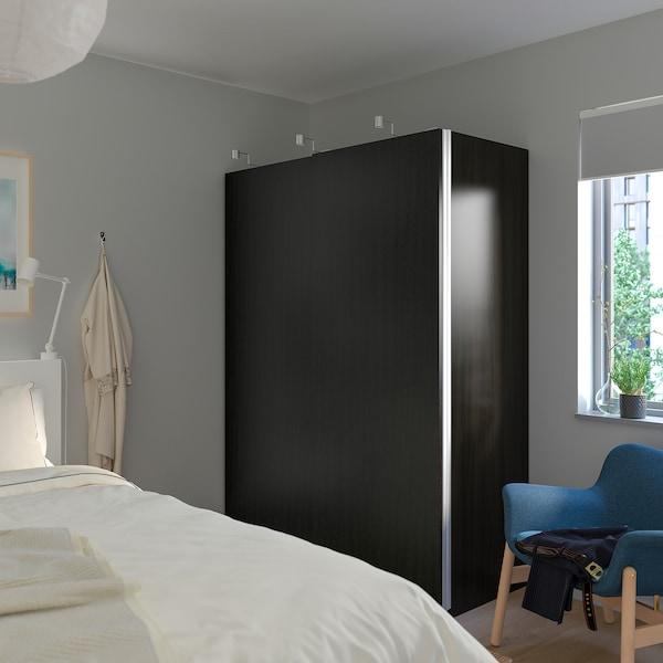 PAX wardrobe black-brown/Hasvik black-brown stained ash effect 150.0 cm 66.0 cm 201.2 cm
