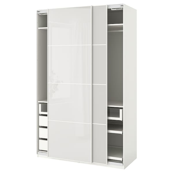 PAX wardrobe white/Hokksund light grey 150.0 cm 66.0 cm 236.4 cm