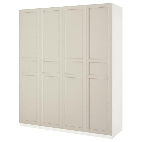 PAX wardrobe white/Flisberget light beige 200 cm 60 cm 236.4 cm 236 cm