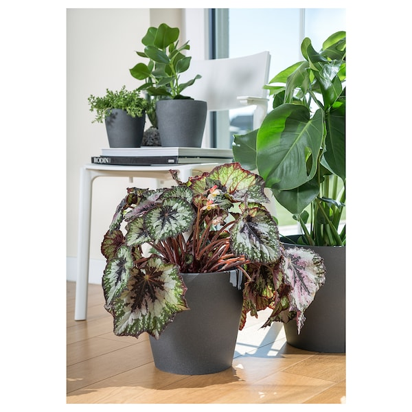 PERSILLADE Plant pot, dark grey, 19 cm