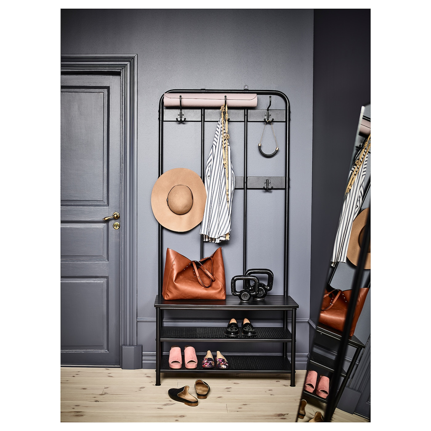 IKEA PINNIG coat rack with shoe storage bench  sc 1 st  Ikea & PINNIG Coat rack with shoe storage bench Black 193 cm - IKEA