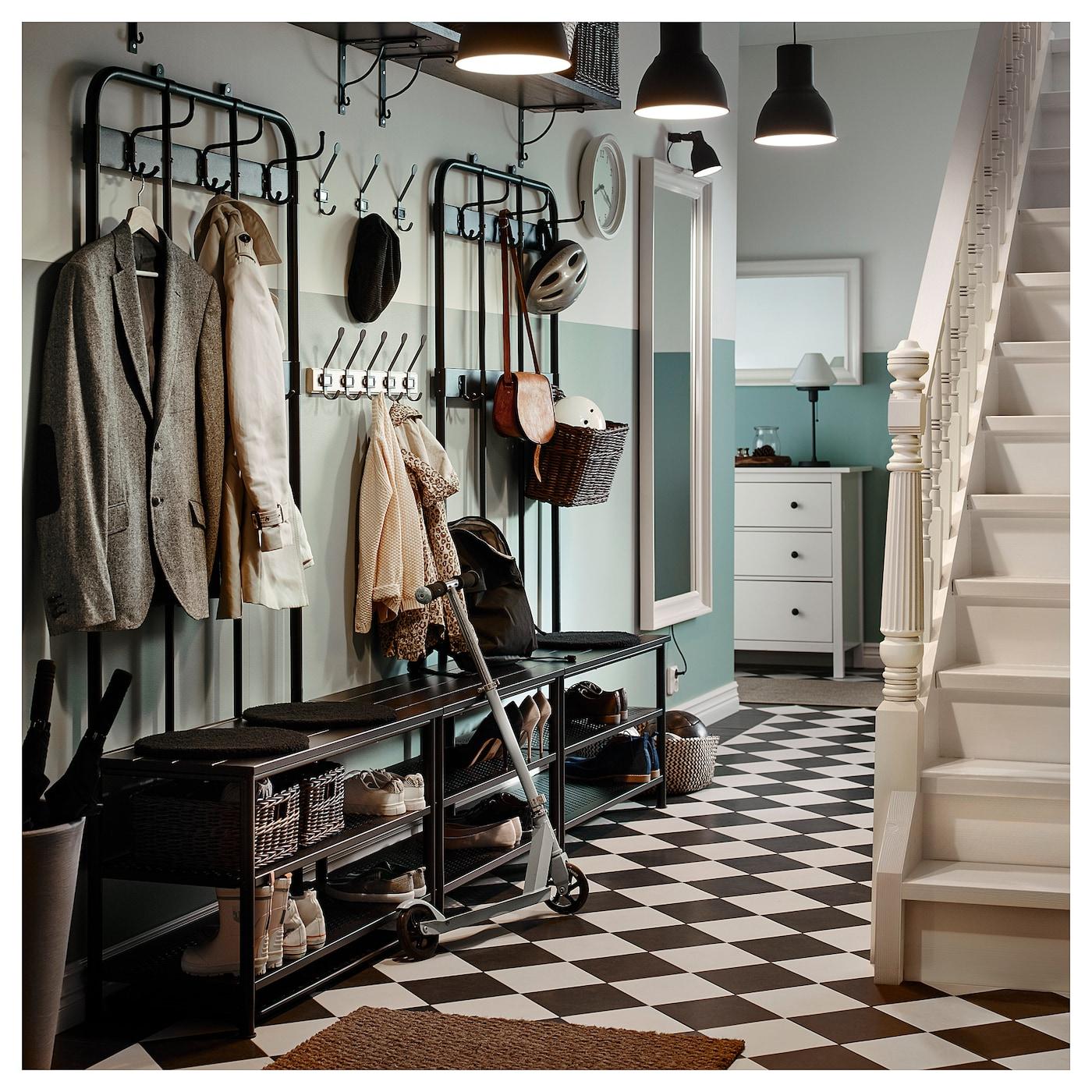 Coat Rack With Shoe Storage: PINNIG Coat Rack With Shoe Storage Bench Black 193 Cm