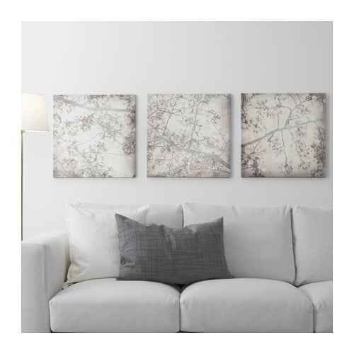 Pj tteryd picture set of 3 cherry blossom trio 56x56 cm for Ikea tableau decoration