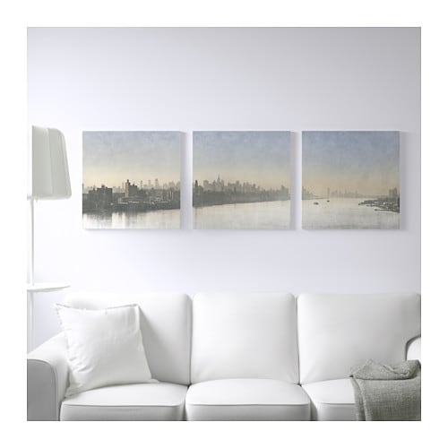 Pj tteryd picture set of 3 silver mist 56x56 cm ikea - Ikea tableau decoration ...