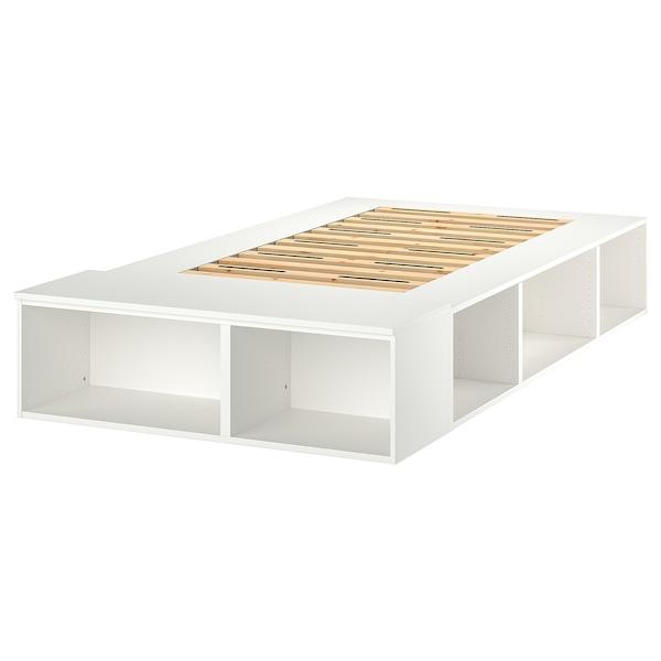 PLATSA Bed frame with storage, white, 140x200 cm