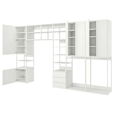 PLATSA Storage comb w 6 doors+3 drawers, white/Fonnes white, 420x42x241 cm