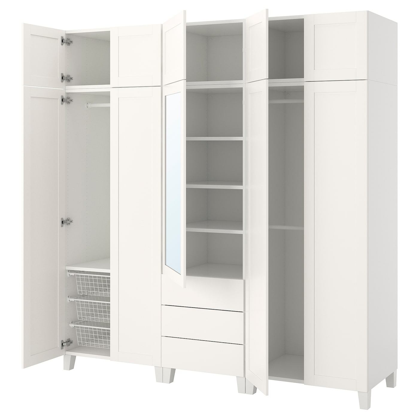 platsa wardrobe white sannidal ridabu 220 x 57 x 231 cm ikea. Black Bedroom Furniture Sets. Home Design Ideas