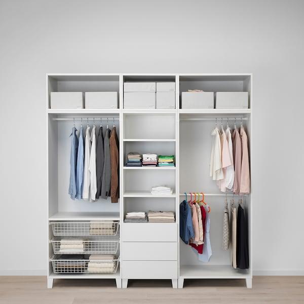 PLATSA wardrobe white/Sannidal Ridabu 220 cm 57 cm 231 cm