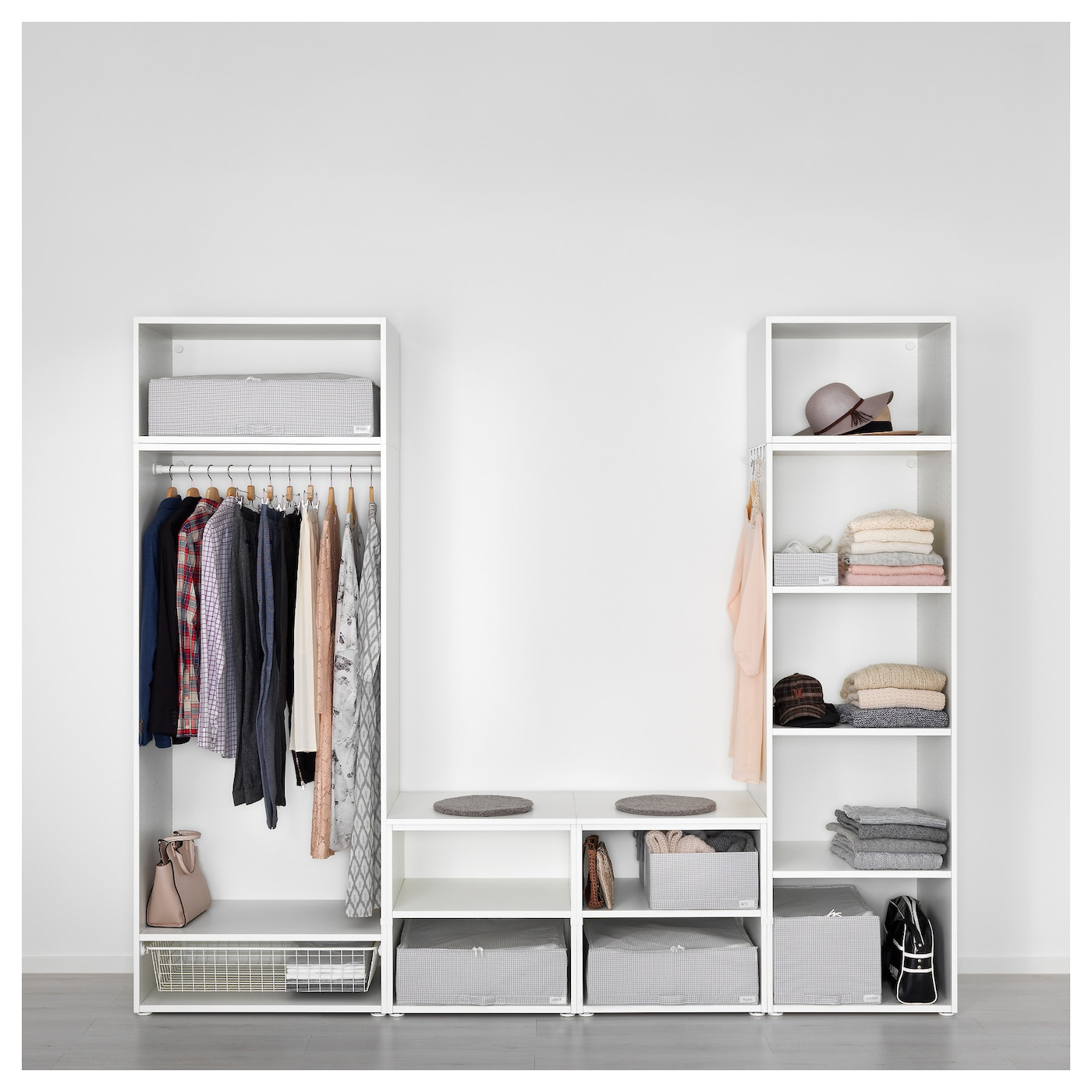 platsa wardrobe white skatval light grey 260 x 57 x 221 cm ikea. Black Bedroom Furniture Sets. Home Design Ideas