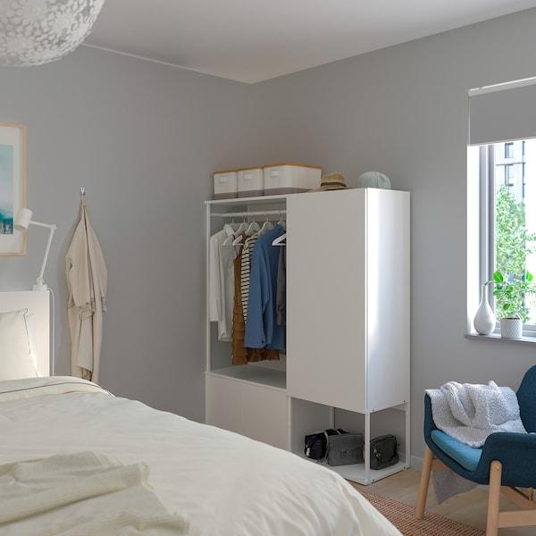 PLATSA Wardrobe with 3 doors, white/Fonnes white, 140x42x161 cm