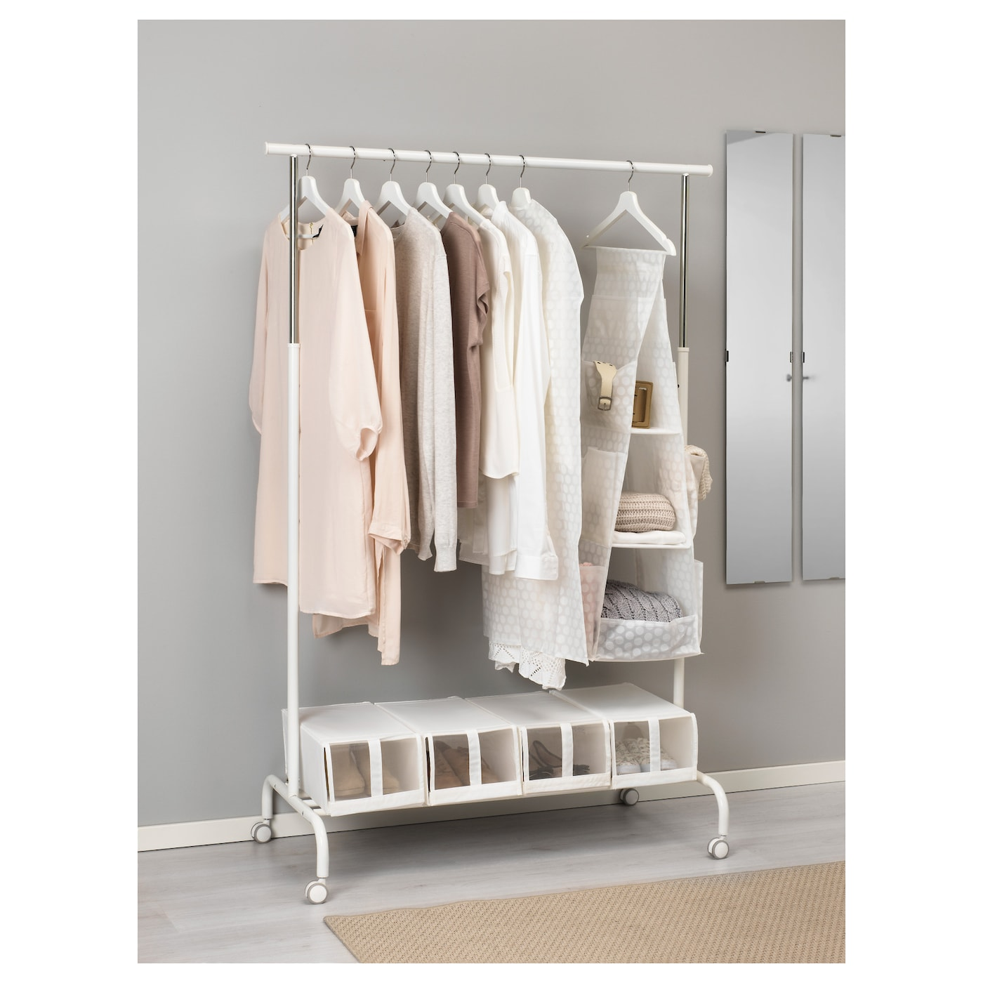 PLURING Hanging Storage With 3 Compartments White 30 X 30