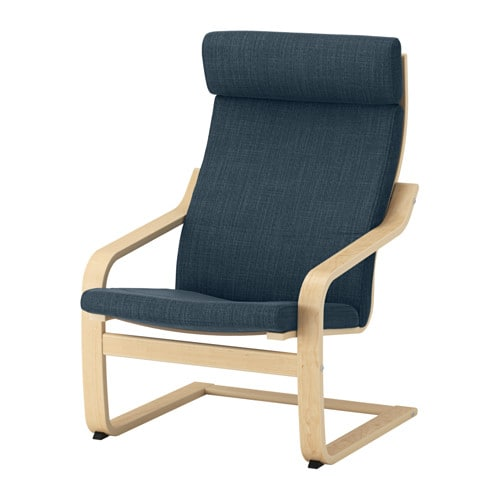 Po 196 Ng Armchair Birch Veneer Hillared Dark Blue Ikea