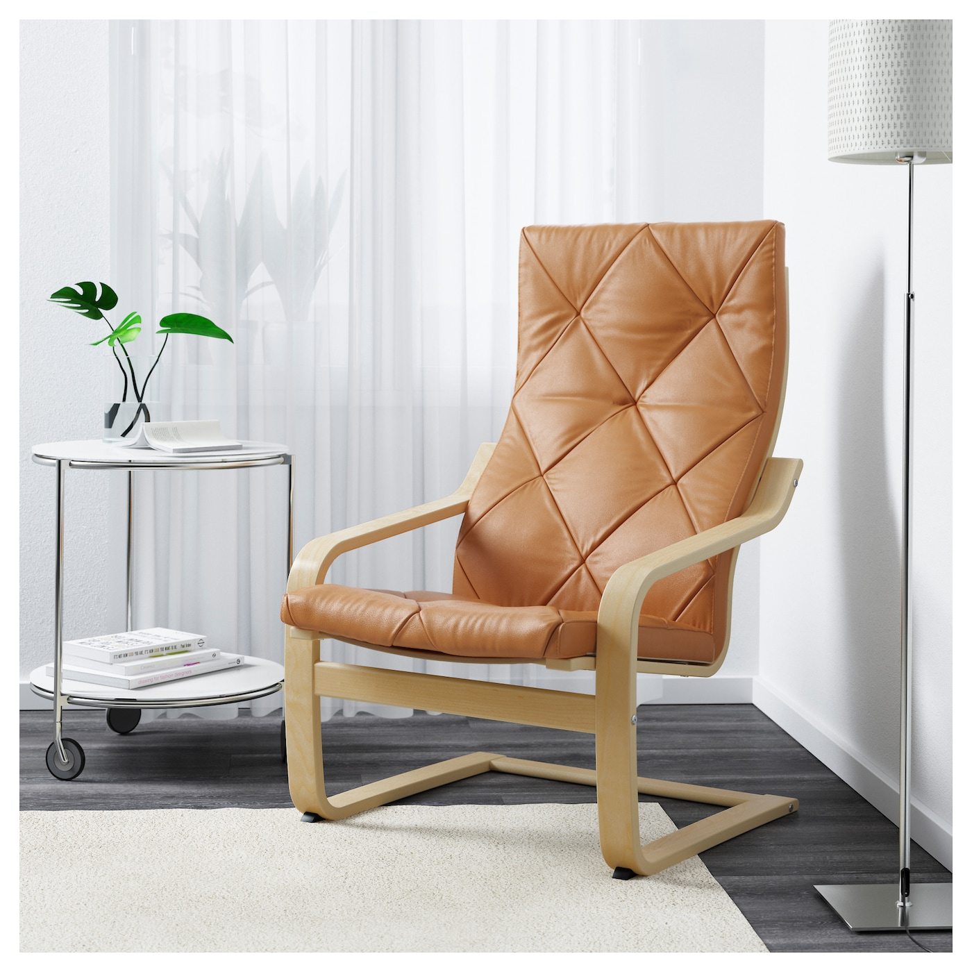 IKEA POÄNG armchair Layer-glued bent birch frame gives comfortable resilience.